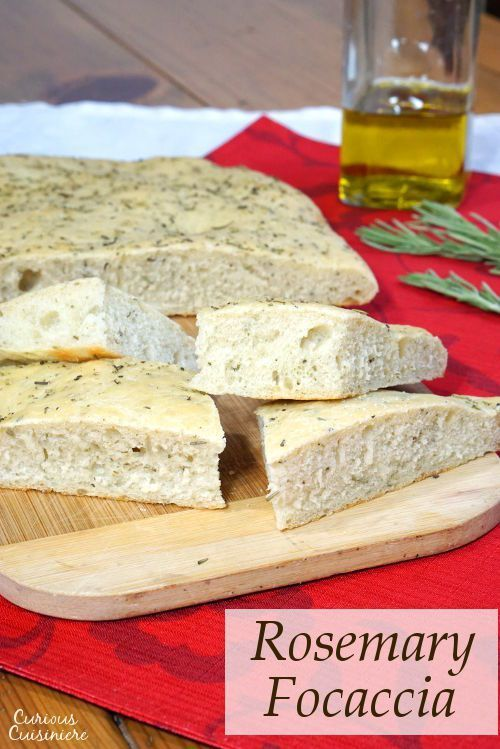 This soft, chewy Focaccia bread is flavored with rosemary and sea salt. It is perfect for serving as an appetizer or along side a pasta dinner! | http://www.CuriousCuisiniere.com
