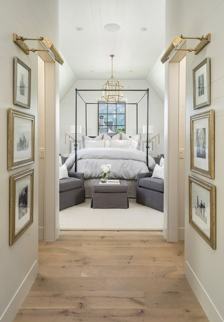 Simple Details: TGIF - The Gems I Found  I love the gallery wall lighting leading into this pretty bedroom