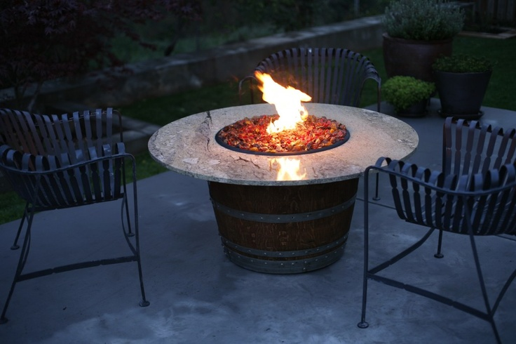 Wine Barrel Fire Pit With Granite Top Wine A Little