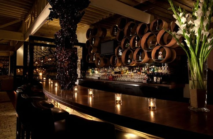 Sophisticated and elegant bar interior design of red o