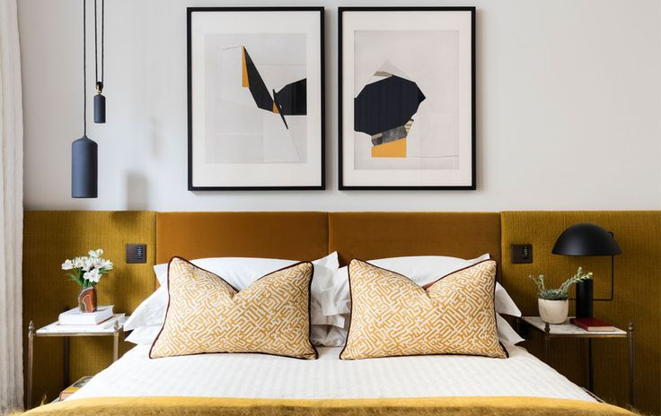 MODERN BEDROOM DECOR| an perfect example of contemporary decor, the mustard velvet headboard is just amazing, and the lighting selection matches so well the entire decor | www.bocadolobo.com #contemporarydesign #contemporarydecor