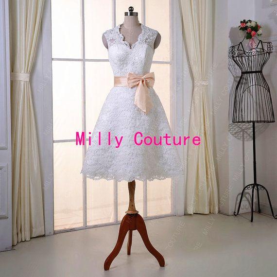 La rodilla de encaje vestido de novia vestido de por MillyCouture