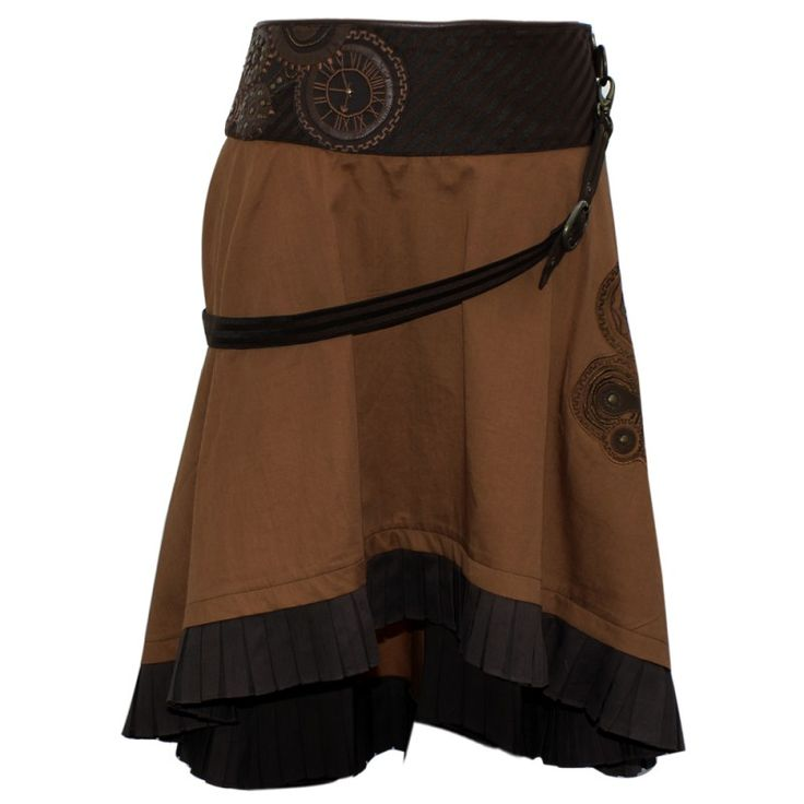 EW-114 - Brown Steampunk Skirt with a Belt and Clockwork Detailing    Would love this for Christmas (though it's a little late for that...)