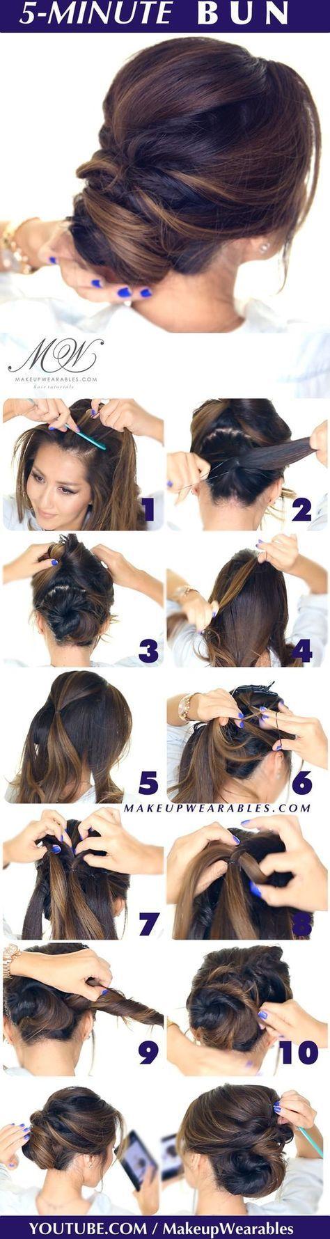 hair tutorial - easy romantic bun hairstyle - Elegant twisted bun hairstyles for homecoming prom wedding:
