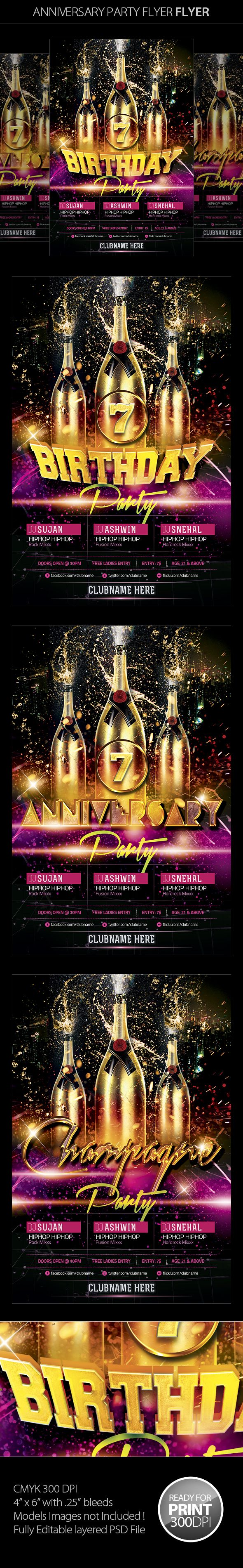 Anniversary Party Flyer by Mahantesh Nagashetty, via Behance