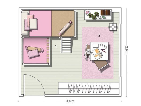 Un dormitorio coqueto con litera en ngulo for Plano habitacion