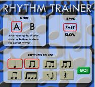 The Rhythm Trainer is a free, Flash-based program for learning and practicing rhythm. There are two types of exercises; A Mode, where you click in the rhythm you hear, and B Mode, where you see a rhythm and choose the sound that matches.