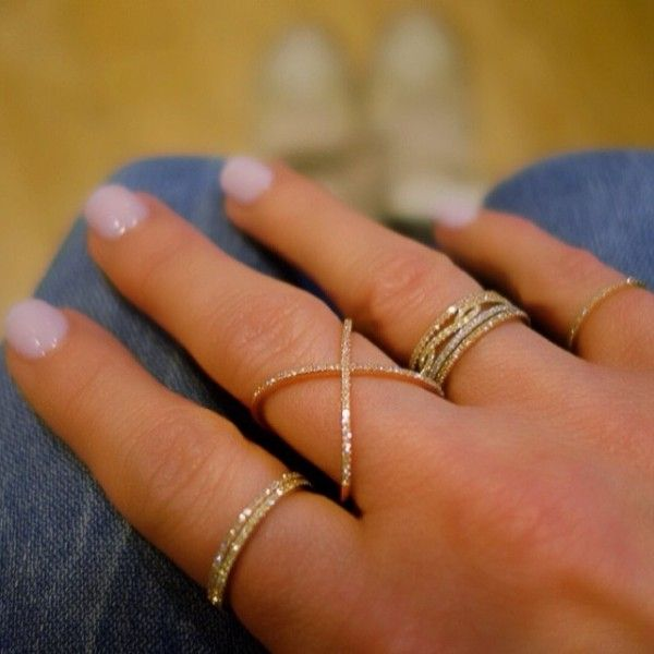 Thin diamond rings. Love these!