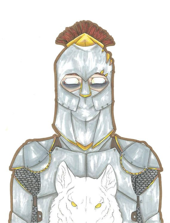 Knight in Armor Pen and Marker Art Portrait Chameleon Pens