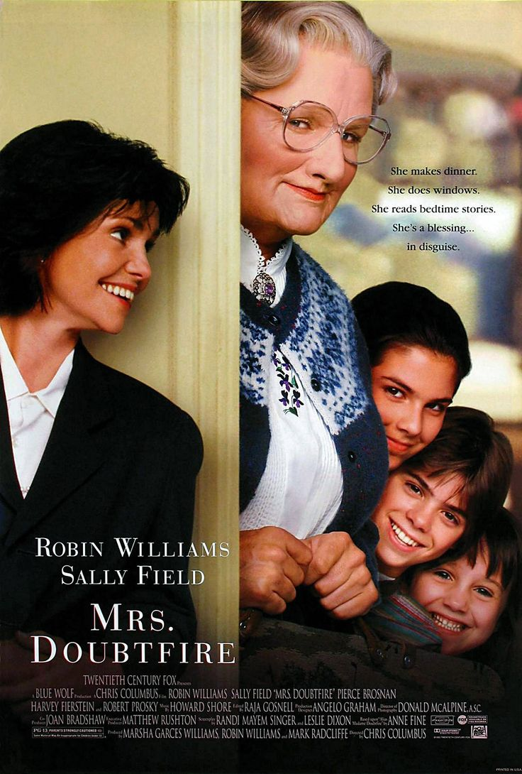 Mrs. Doubtfire. This is my home room teachers fab movie and I love it