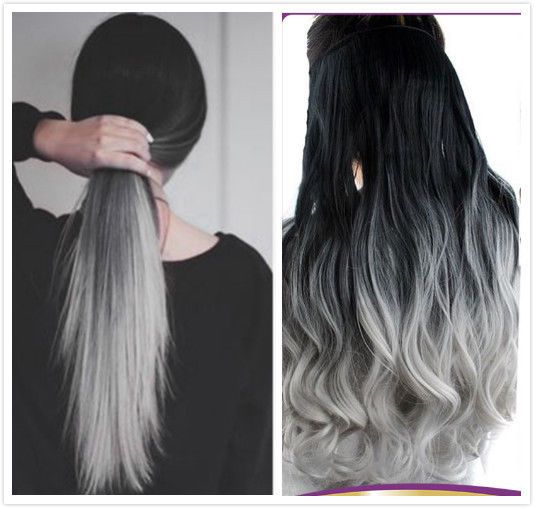 Details about Black Grey Syntheic Ombre Straight Curly Wavy Clip in Hair Extensions