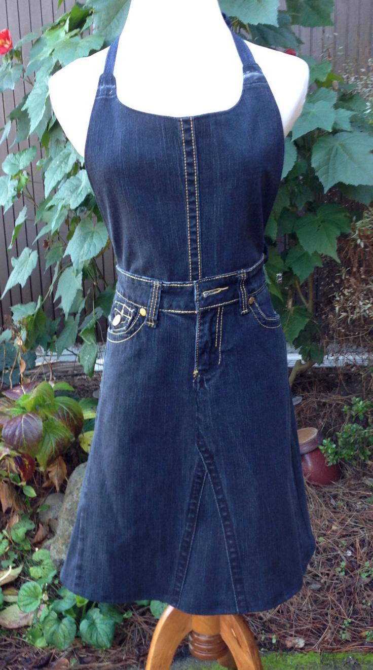 White eyelet apron - Upcycled Designer Jeans Woman S Apron