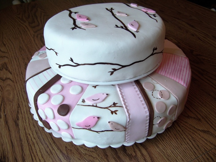 Baby girl shower cake based on some cute baby bedding :)