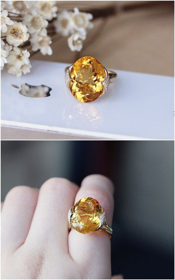 Best ct Oval Citrine Ring Solid K Yellow Gold Citrine Wedding Ring http
