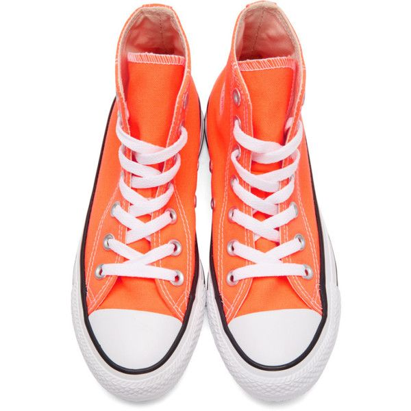 Converse Orange Classic Chuck Taylor All Star OX High-Top Sneakers (£43) ❤ liked on Polyvore featuring shoes, sneakers, converse sneakers, rubber shoes, orange sneakers, hi top canvas sneakers and lace up shoes