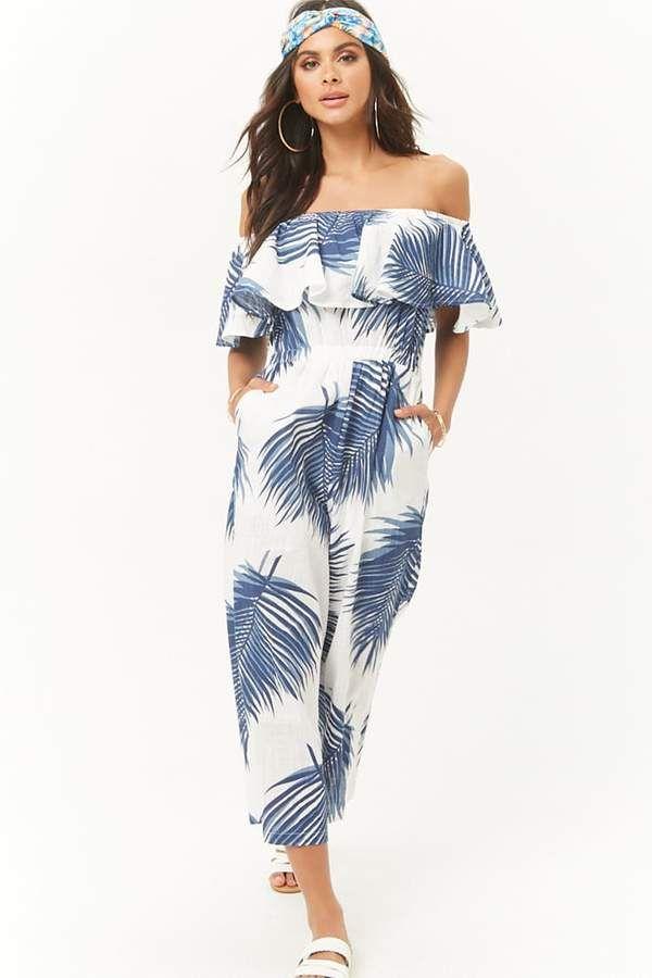 2f30335dbac Forever 21 Palm Leaf Print Off-the-Shoulder Jumpsuit