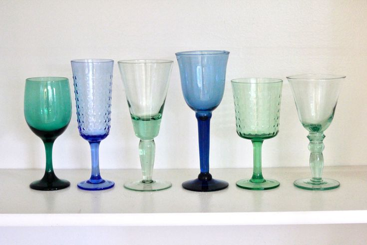 Vintage set of Glasses /Six Eclectic Glasses /Vintage Glasses /Vintage Water Glasses /Water Goblet set /Vintage Wine Goblet set/Blue / green by VelvetPoppyVintage on Etsy