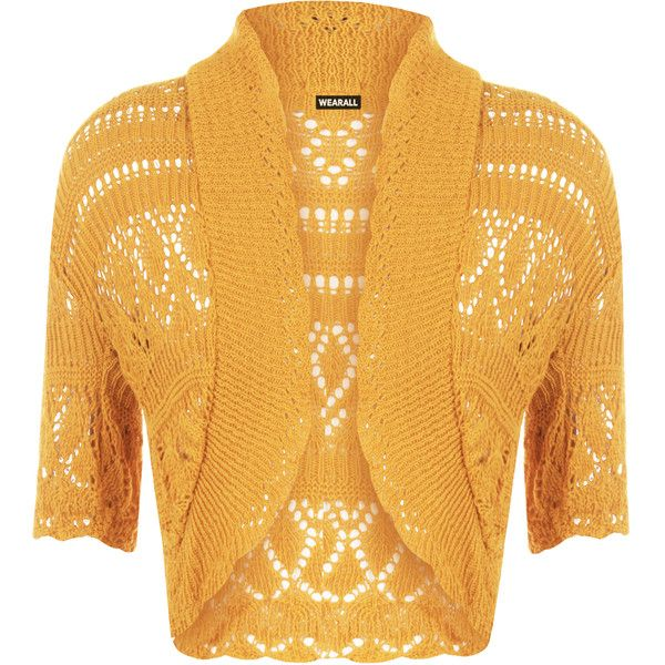 Estella Crochet Knitted Cardigan (320 UAH) ❤ liked on Polyvore featuring tops, cardigans, mustard, short sleeve open front cardigan, yellow crochet top, yellow short sleeve cardigan, yellow cardigan and mustard cardigan