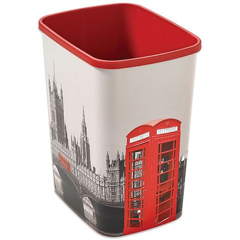 buy decorative london wastebasket from bed bath beyond