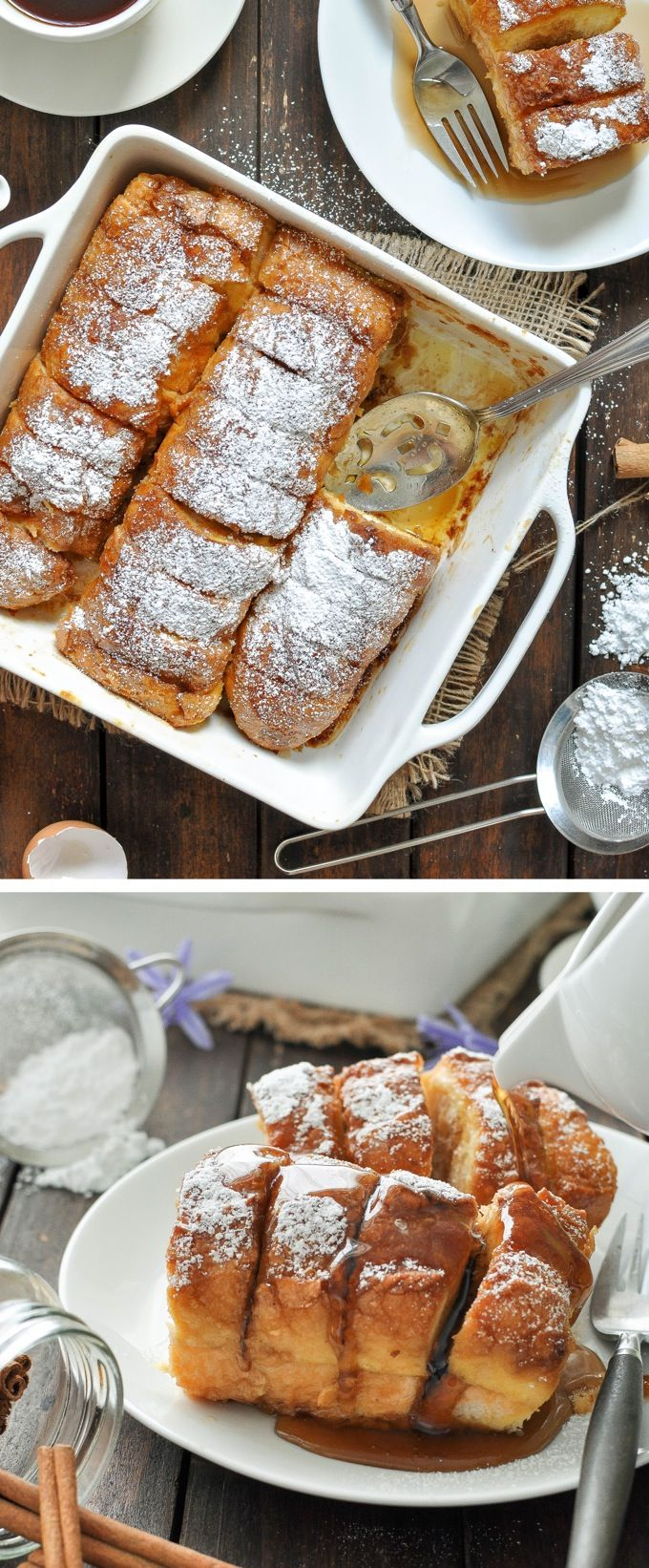 Hasselback French Toast - made with baguettes / french stick bread that creates perfect crevices to pour maple syrup into! | Great breakfast to feed a crowd!