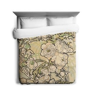 Shop for Sharp Shirter Peonies Flower/ Alphonse Mucha/ Duvet Cover. Get free delivery at Overstock.com - Your Online Bedding