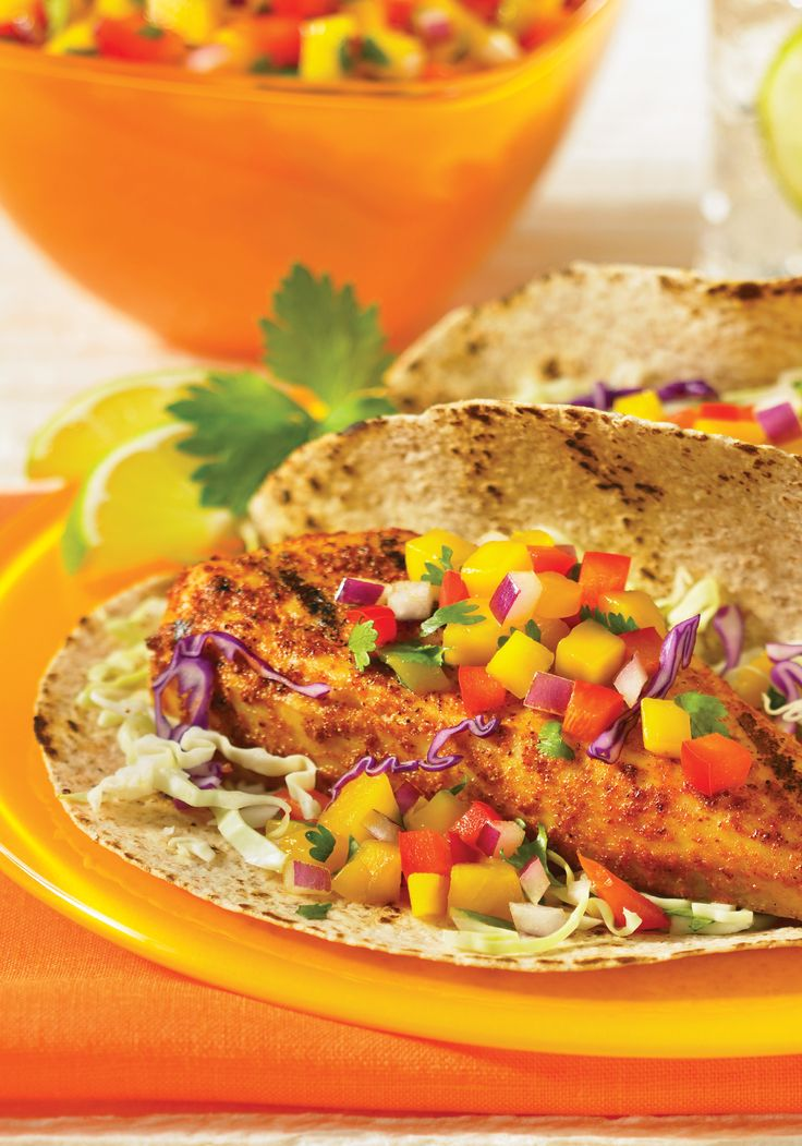Grilled Tilapia Tacos with Mango Salsa recipe, from 5 Easy Steps to Healthy Cooking: 500 Recipes for Lifelong Wellness cookbook, by Camilla V. Saulsbury
