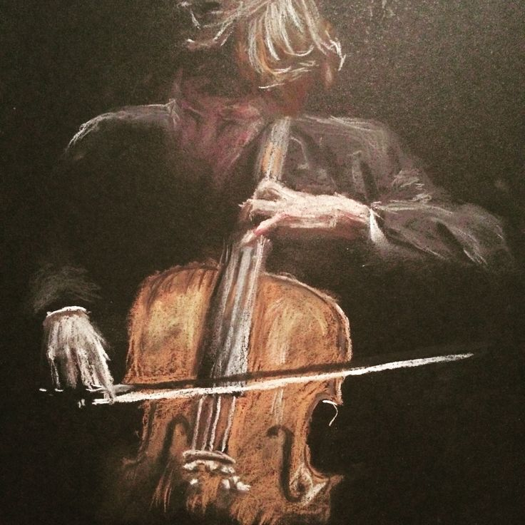 Cello player - Pastel drawing