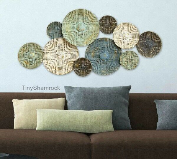 Large Contemporary Modern Style Textured Metal Plates Wall Art Sculpture Decor