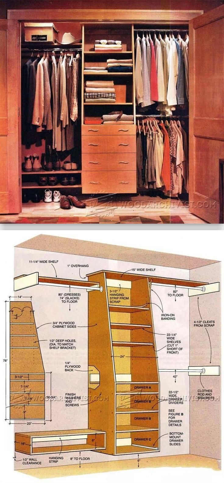 Built In Closet Plans - Furniture Plans and Projects | WoodArchivist.com