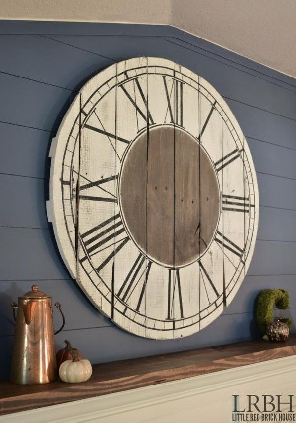 how to build a roman numeral pallet clock. Save ALL the pallets from your contractors and have them put them up on the hill (away from the house) We will put a clock mechanism in this, even if you hang it outside.