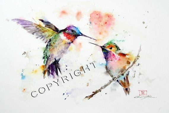 Imprimir acuarela colibríes por Dean Crouser por DeanCrouserArt