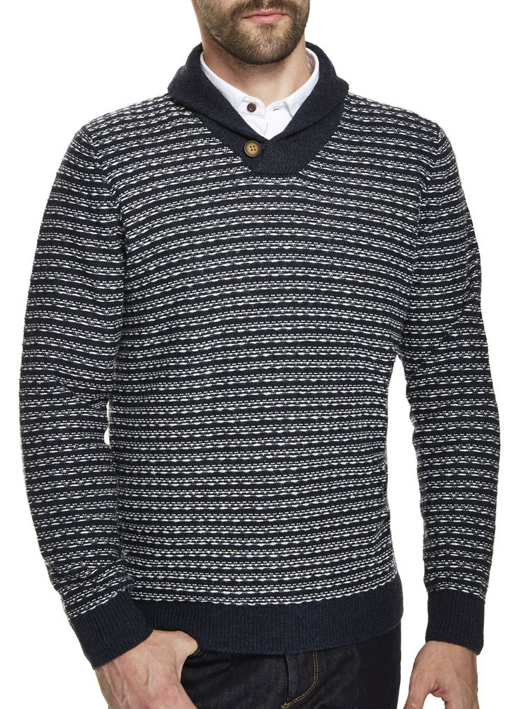 Cozy Navy & White Knitted Stripe Jumper from Burton