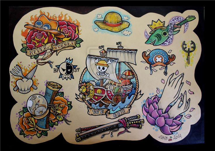 One Piece tattoo flash vol. 1 - Mugiwara no ichimi by MissAcidDoll on DeviantArt
