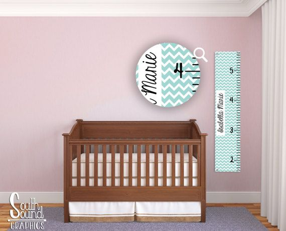 Kids Growth Chart - Boy or Girl Room Wall Decor - Chevron Wall Hanging - Children's Personalized Growth Chart - Teal Chevron Bedroom Decor