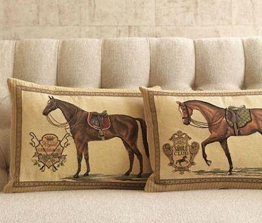 crown floral horse pillow
