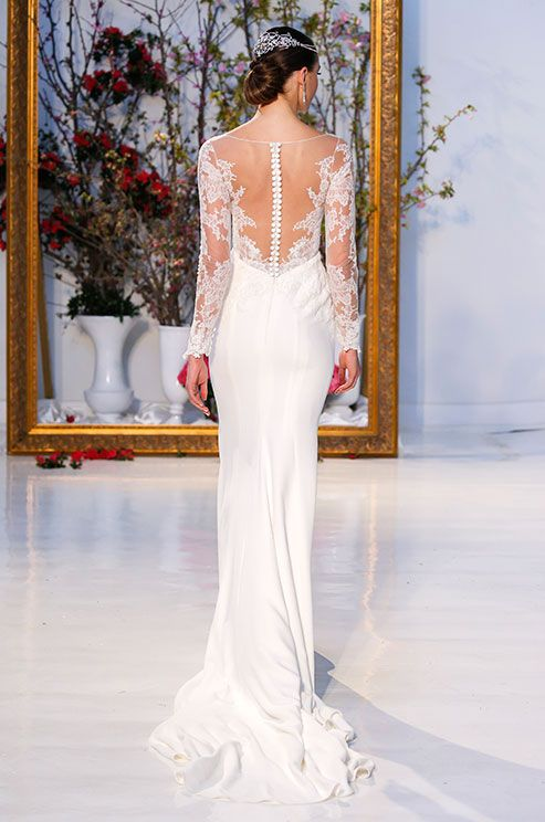 Anne Barge long sleeves wedding dress with illusion back detail, Spring 2017 Bridal Collection, Bridal Fashion Week