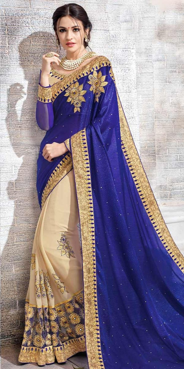 Vibrant Navy Blue And Cream Chiffon Saree With Blouse. Online