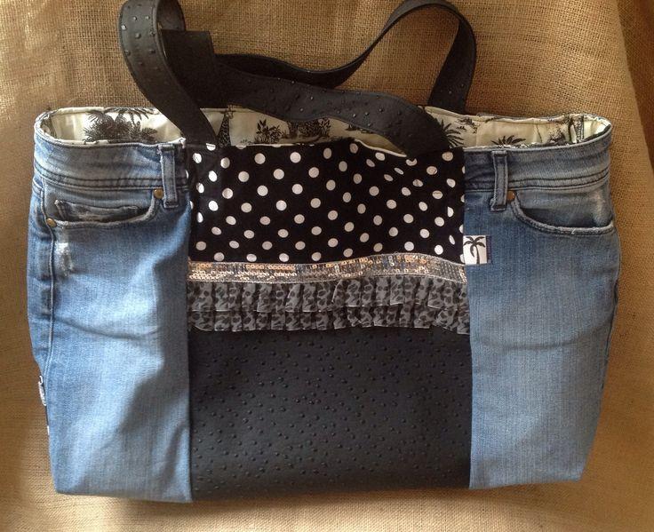 Grand Sac cabas femme simili noir autruche et jean : Sacs à main par la-boutique-de-cecile
