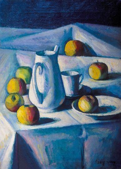 Czigány Dezső (1883-1938) Fehér csendélet (Csendélet almákkal), 1912 körül Olaj, vászon, 60x45 cm