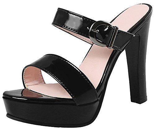 a602cf7cf4a SALE PRICE -  35.99 - Mofri Women s Fashion Buckle Strap Open Toe Sandals  Platform Chunky High Heels Slide on Mules Shoes
