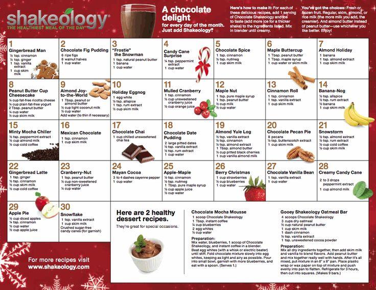 Holiday CHocolate Shake-o recipes...I used vanilla shake-o and just add about 1 tsp cocoa to each recipe