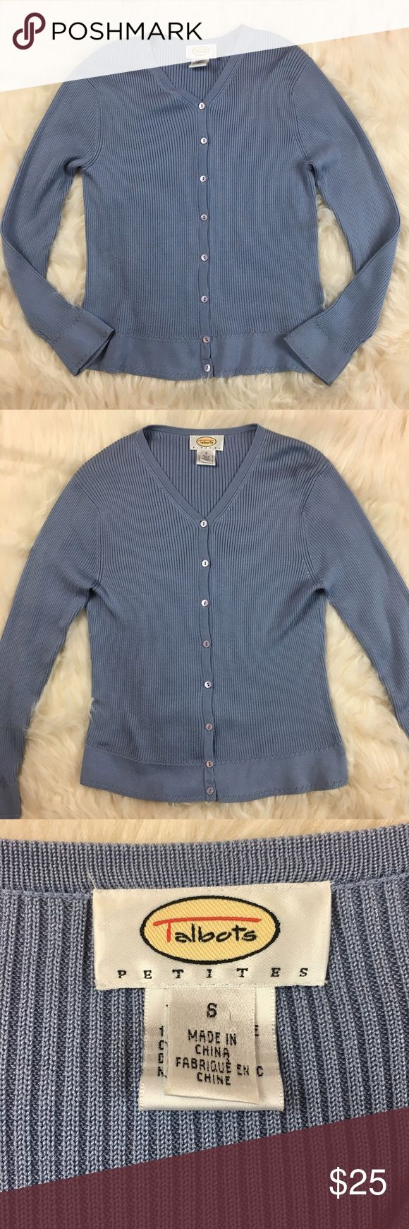"""Talbots Petites Women's Silk Cardigan Talbots Petites cardigan in size small. Gently used, see pictures for details.   Approximate Measurements Laying Flat  Armpit to Armpit- 15""""  Length (shoulder to hem)- 21 1/2""""  B Talbots Sweaters Cardigans"""