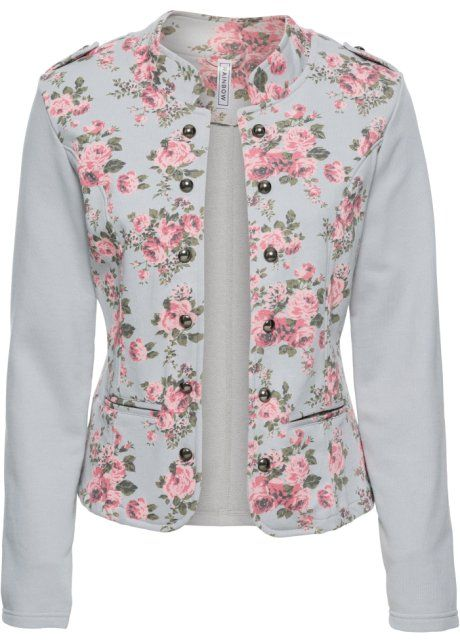 Bonprix Sweatblazer jasje colbert RAINBOW, staalgrijs gedessineerd bloemen print steel grey floral print blazer jacket