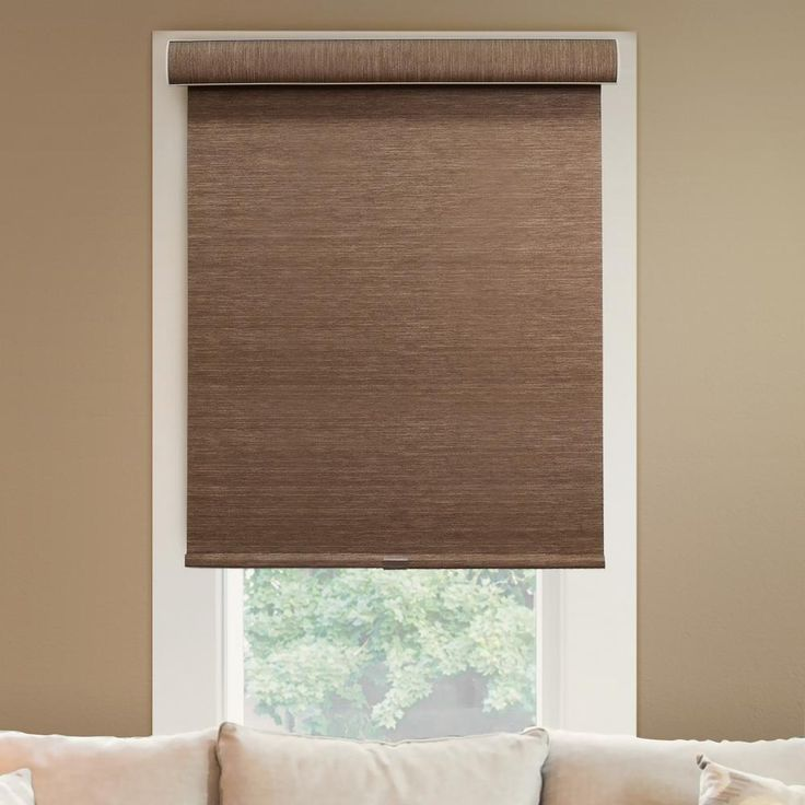 "Chicology Deluxe Free-Stop Cordless Roller Shade / Blind Curtain Drape, No Tug, Natural Woven, Privacy-Woodland Brown, 30""W X 72""H, Woodland Brown (Natural Woven)"