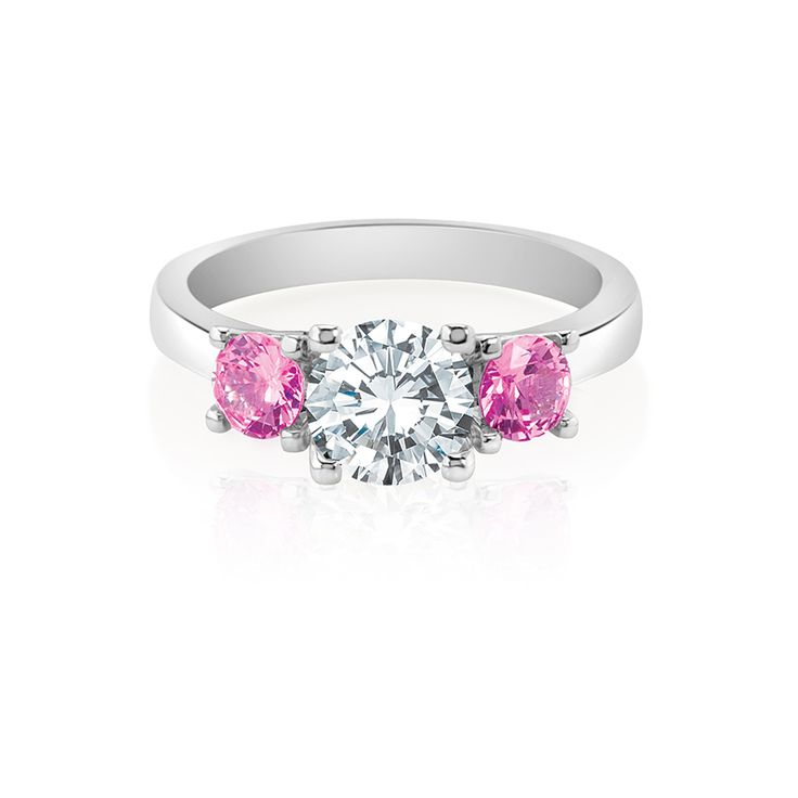 Description  Natural hot pink sapphires heighten the dramatic effect of this stunning Damasci creation.  Starting from $1299