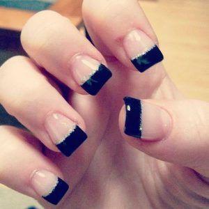 Black tip nail art