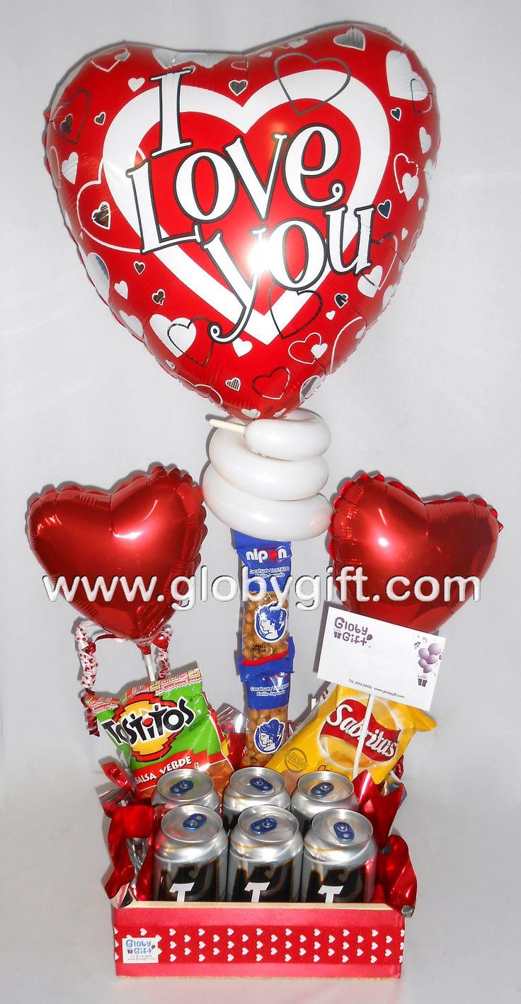 Arreglo de globos para San Valentín, ideal para hombre, con cerveza y  botana.