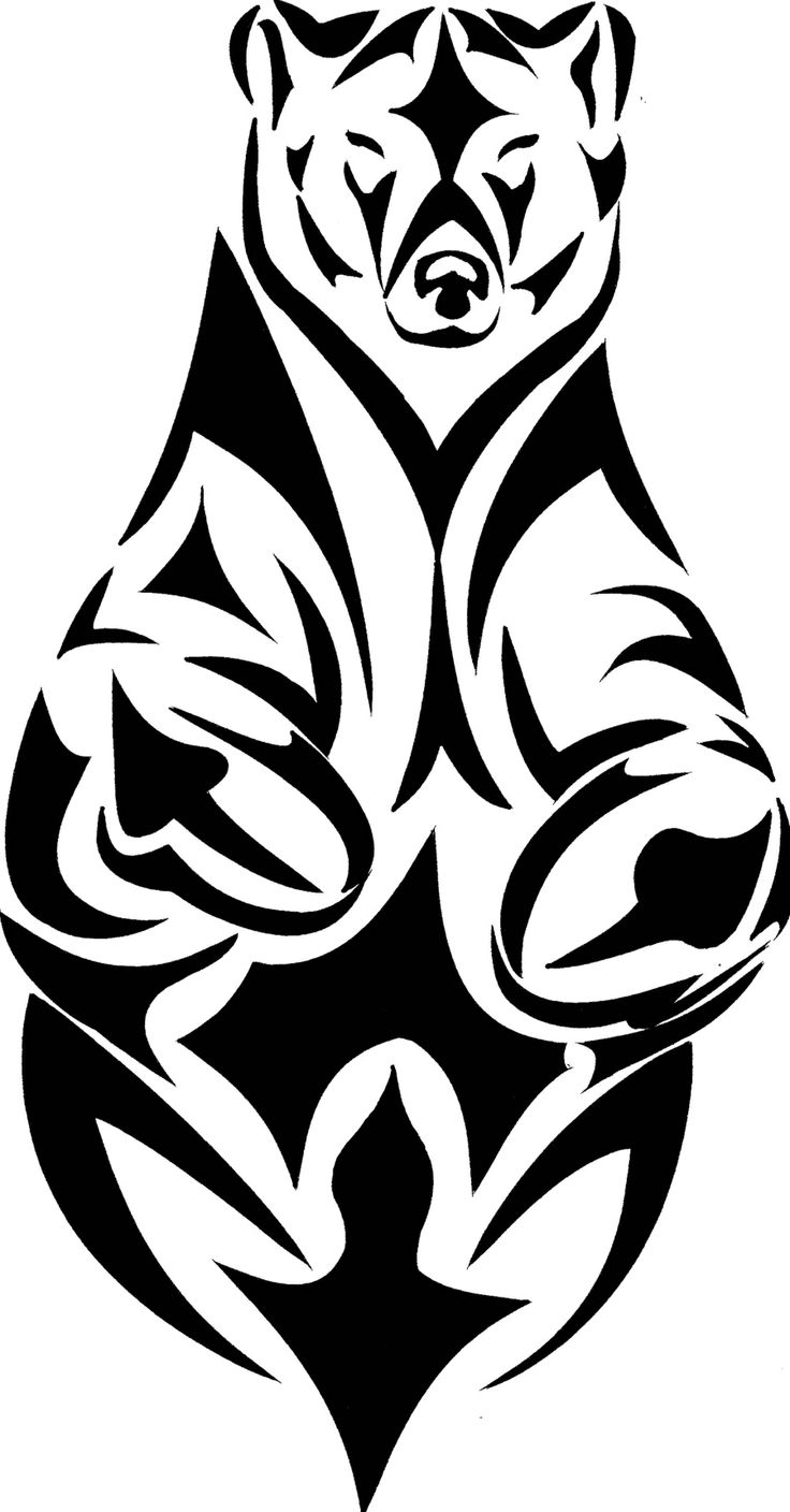 Tribal grizzly tattoo