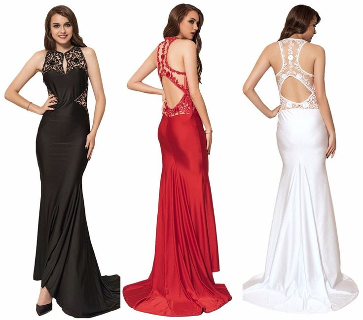 Sexy Plus Size Elegant Evening Formal Embroidery High Neck Backless Party Dress  | eBay