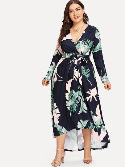 df0b3316da Plus Palm Leaf Print Wrap Dress -SheIn(Sheinside) | Dresses in 2019 ...